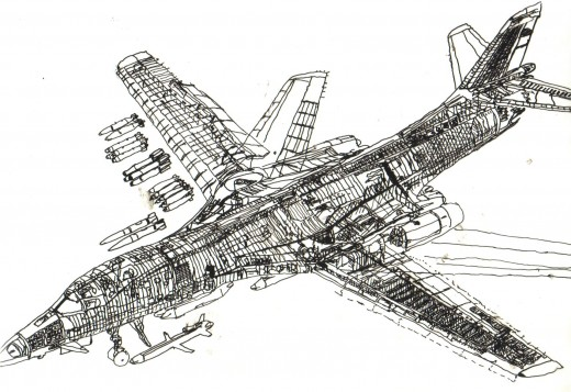 Line drawing done in india ink on acetate of a B1 bomber. Justin did this in 1986 when he was but 11 years old.