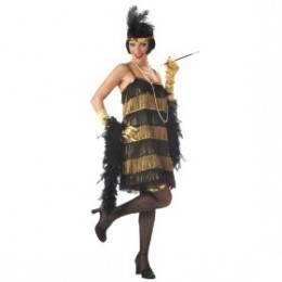 Black & gold flapper costume