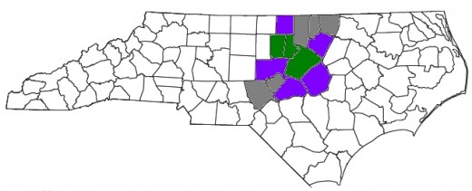 The Triangle contains from 3 to 13 counties total, 13 comprising the Greater Triangle Area of North Carolina. Green coloring indicates the 3 core counties of the Triangle: Durham, Orange, and Wake. Purple indicates US Census Bureau statistical determ