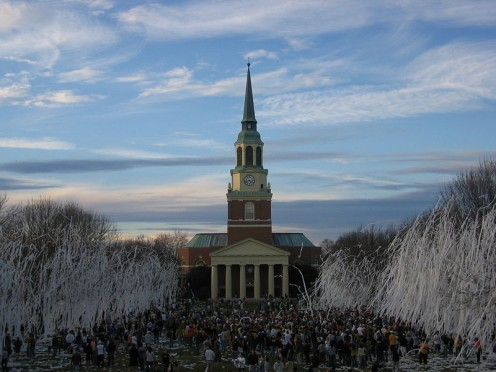 After sports victories, students of WFU cover trees with toilet paper.