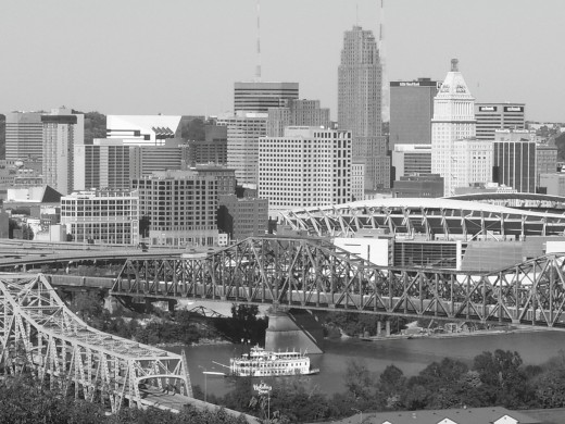 This is a shot of our hometown Cincinnati, Ohio. It's taken from the Kentucky side of the Ohio River during an event that happens every few years called Tallstacks. Riverboats of the paddlewheel type come here and there's a big celebration with major