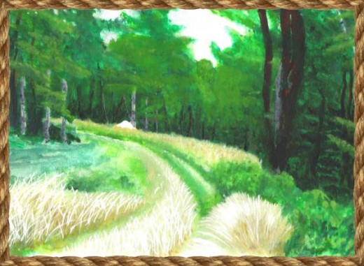 A watercolor done by Justin of property owned in the beautiful town of Lee, Maine