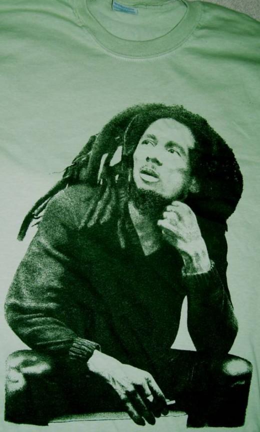 Bob Marley t-shirt. Printed in the 90's. Hand drawn art.