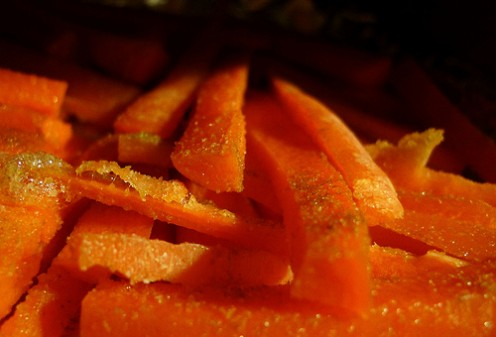 Carrot fries created, photographed, and devoured by Beth Morey (2010).