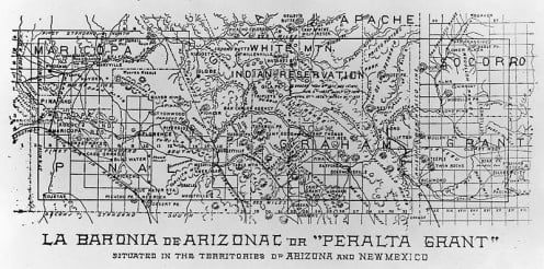 Map of the Peralta land grant in Arizona, produced in 1898 to renew land claims.