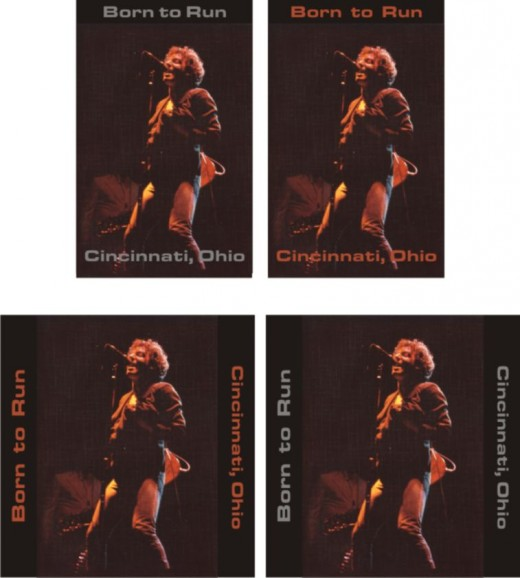 Bruce Springsteen photo that I shot at the show in 1977. These are a few variations that I used to figure out the text and format.