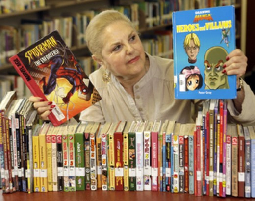A library's collection of comic books