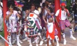 The venda dancers displaying their garb when they do their Tshikona dance, with each member dressed in animal skins, feathers or bright Venda materials