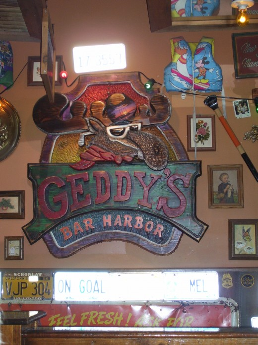 Geddy's in Bar Harbor. We stopped here for some fine pizza while milling around the town. They have a web-cam outside that anyone can access, give it a try.