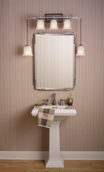 Kichler pedestal sink and light from nouveaubathrooms.com