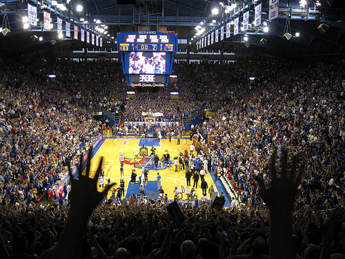 "And lots of excitement in Allen Field House, the ""Home of the Jayhawks."""