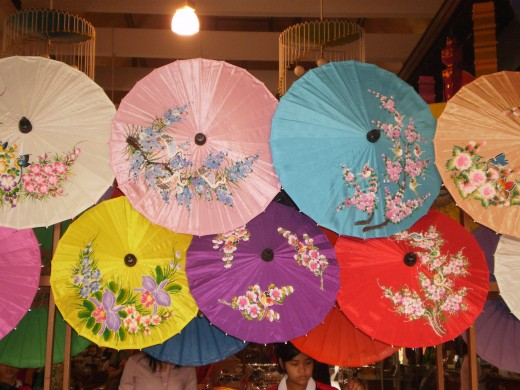 Beautiful and colourful umbrellas at Borsang Umbrella Village, Chiang Mai.