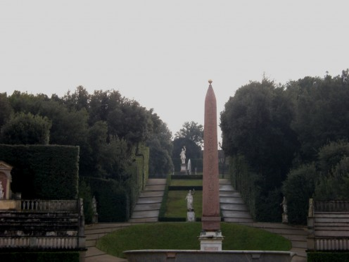 view of the Amphitheatre with the Aegyptian obelisk