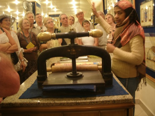 learning how papyrus scrolls were made at Papyrus workshop