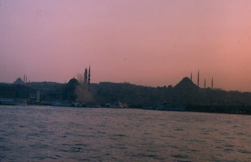 Outline of Hagia Sophia, on the right of the skyline, in Istanbul - the inspiration for many of Kiev's churches.