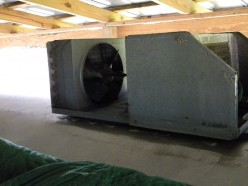 The rooftop unit With Condenser Cover removed