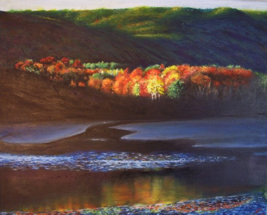 Silent Serenity - Otter Cove in Acadia National Park of Maine. Late afternoon on an October day with low-tide reflections. The photograph was done by Alan Nyiri and seen in ACADIA PANORAMA(2008). This is only half of the total picture, it screamed fo