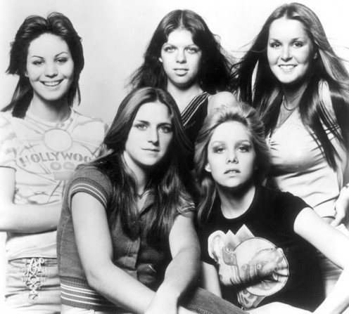 The Runaways (1976): Joan Jett, Jackie Fox, Lita Ford (top row), Sandy West, Cherie Currie (bottom row)