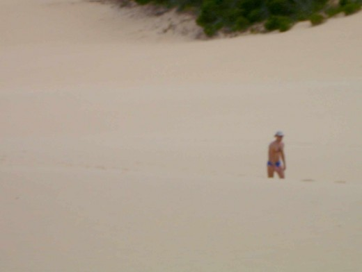 Lone Going Troppo sufferer wandering across a sand dune wearing only 'budgie smugglers' and a 'giggle hat'.