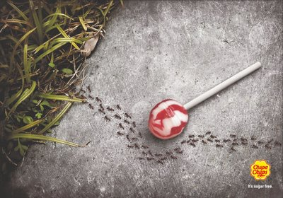 Not natural: an advertisement for sugar-free Chupa Chups lollipops.