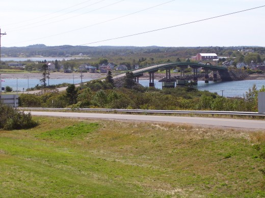 Roosevelt Campobello Memorial Bridge looking back toward Lubec, Maine from New Brunswick, Canada.