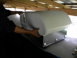 Installing shroud on the new Coleman rooftop AC unit