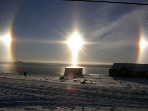 Sundogs over water