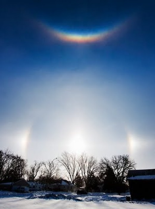 Sundogs with a reflective arc over the sun
