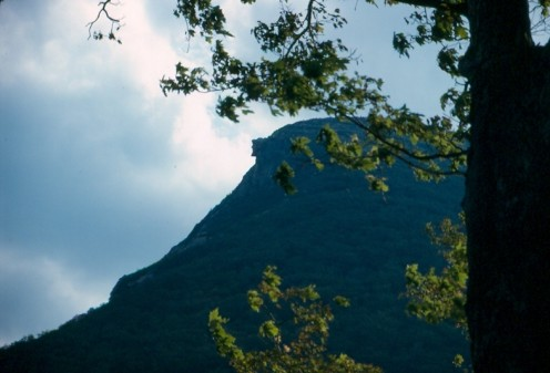 Old Man of the Mountains, before it's collapse. Franconia Notch, New Hampshire, c. 1992.