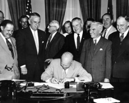 November 11. President Eisenhower signing HR7786, changing Armistice Day to Veterans Day.