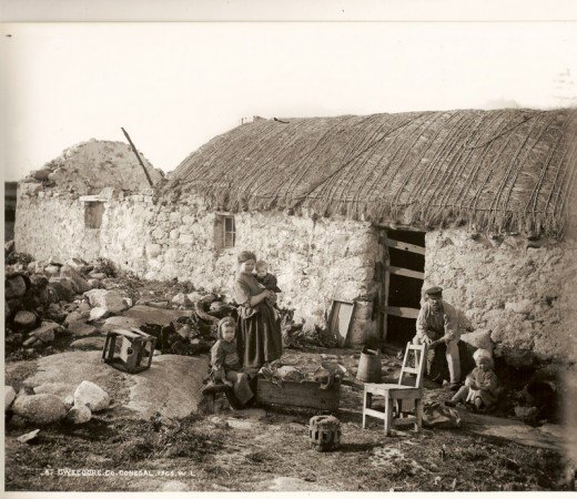 A family evicted in Donegal during the Famine in 1848.     This was to be continued during the Rent evictions in the 1880s.