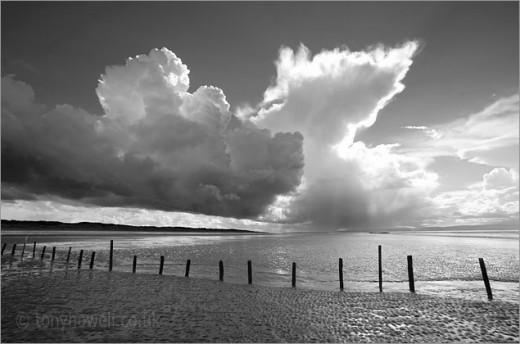Stormy Sky, Groynes, Sand--  Berrow, Somerset, England