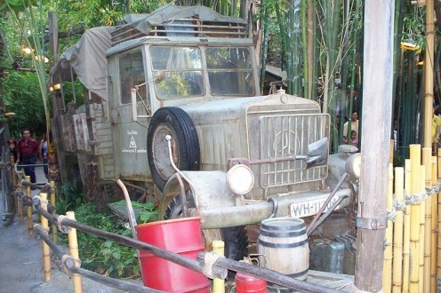 "Actual late 1930s Mercedes-Benz 2.5 ton diesel truck used in the filming of Raiders of the Lost Ark and now on permanent display at the exit queue of the ""Indiana Jones and the Temple of the Forbidden Eye"" attraction at Disneyland, Anaheim, Californi"