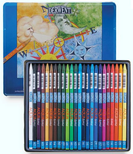 Buy watercolor pencils - Derwent watercolour pencils image copyright Derwent art materials and products.