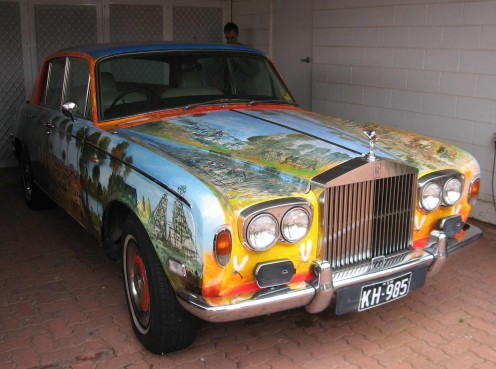 Pro Hart, often compared to Lowry, except I don't think Lowry ever painted a Rolls Royce. Broken Hill, NSW.