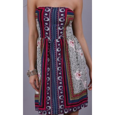 Bold pattern strapless bohemian print dress.
