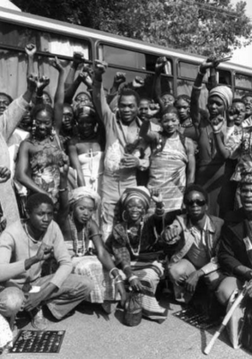 Fela and his entourage