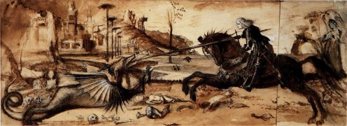 Study of Carpaccio's St. George and the Dragon (produced in the years 1870-1872 by John Ruskin; public domain).
