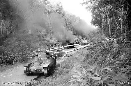 3 Japanese tanks destroyed in British Malaya on 18 January 1942