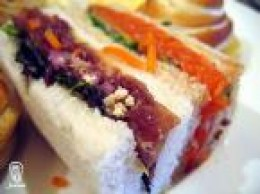 Red-orange-green-white sandwiches