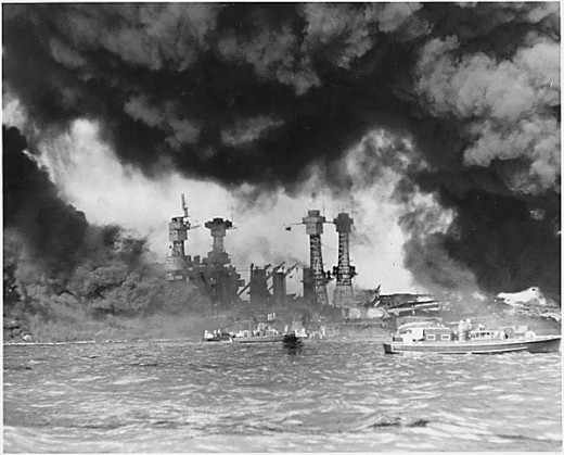Japan's bombing of the US Pacific Fleet in Pearl Harbor inflicts spectacular damage
