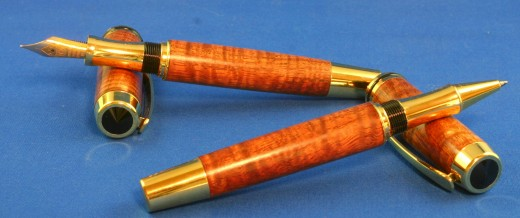 Curly KOA Pair: a fountain pen and rollerball made using curly KOA for the Hawaiian Islands.