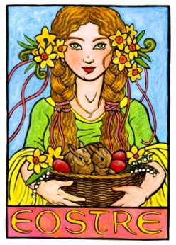 Eostre with her rabbits and eggs.