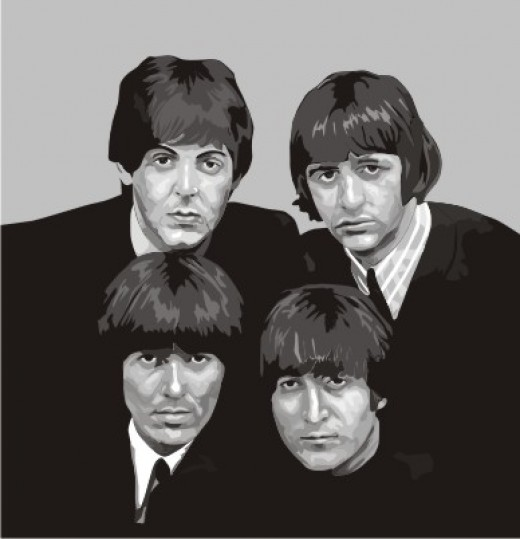 The Beatles, the first live concert I attended in 1966, vectored art by Justin.