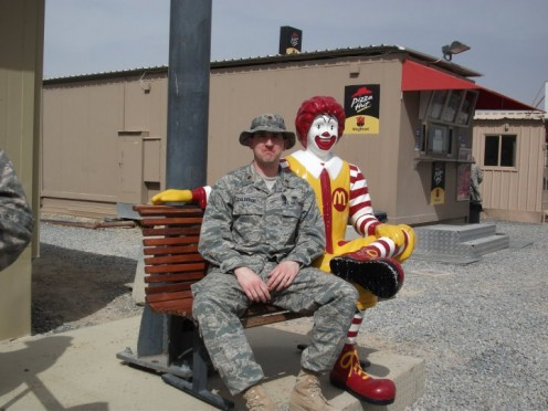Ronald McDonald at a military base in Southwest Asia, cheering up the soldiers.