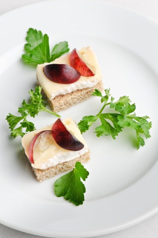 canape with camembert/brie cheese & grapes from Dreamstime.com
