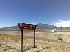 The Pony Express route from St Joseph Missouri to Sacramento