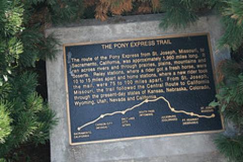 Plaque commemorating the Pony Express