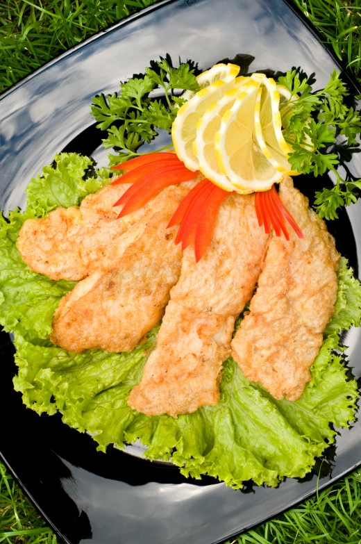 Fried Chicken Fillet on Green Salad from Dreamstime.com