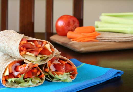 Ham and Cheese with Veggies Wrapped in Whole Wheat Tacos from Dreamstime.com